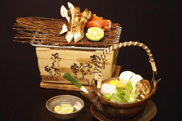 松茸の土瓶蒸し、松茸と多羅場蟹の焼物